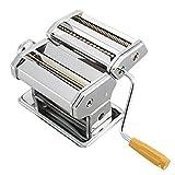 Yusheng 2 in 1 macchina manuale per tagliatelle in acciaio inox taglierina con regolazione dello spessore regolabile, lasagna maccheroni tagliatelle pasta spaghetti fettuccine che fa macchina