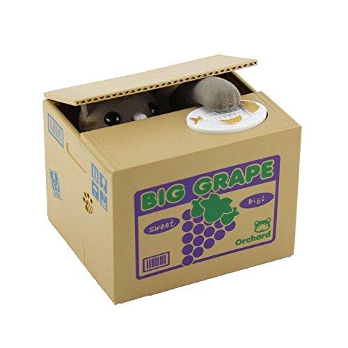 JZK® Elektronische gelddose spardose sparbüchse Katze stehlen Geld münze Box sparschwein für Kinder (grau Katze)