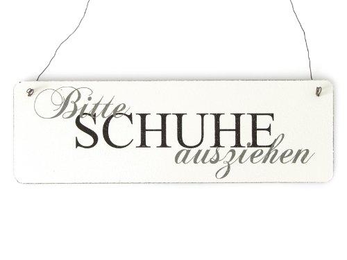 Interluxe Shabby Vintage Schild Türschild Bitte Schuhe AUSZIEHEN 3 Empfang Besucher Gäste Gäste