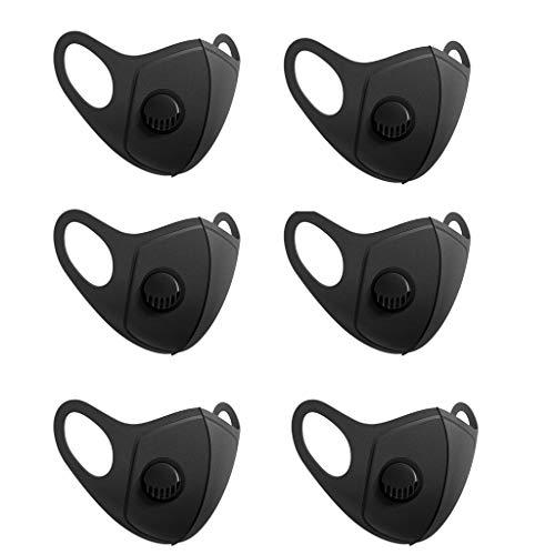 Auifor Unisex, Antipolvo para la Cara, Con válvula,Reutilizables, Lavables, prácticos Suministros de Cuidado Personal, negro Color sólido (6PC,Negro)
