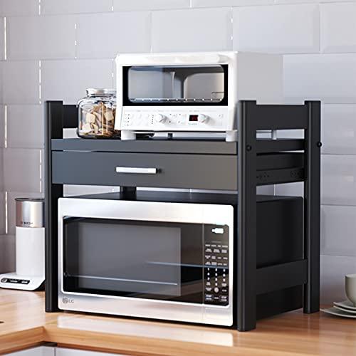 Soporte para microondas, estante de almacenamiento, un estante para impresoras en el escritorio, soporte de carga de 33 libras, con cajón, acero al carbono, negro, 40 cm * 36,5 cm * 45 cm)