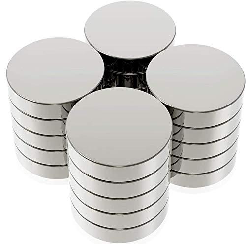 Neodym Magnete Wukong, 20 Stücke mini runde Magnete für Magnettafel 20x3mm super stark Neodym Kühlschrankmagnete für Magnetboard, Pinnwand inkl. Aufbewahrungsbox