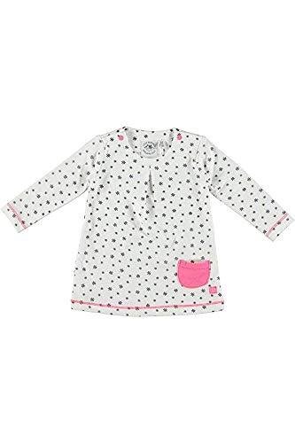 Little Bampidano baby meisje jurk navy allover offwhite lange mouwen bio-katoen