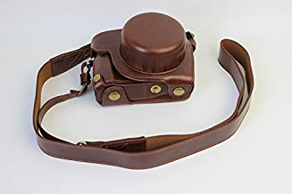 Full Protection Bottom Opening Version Protective PU Leather Camera Case Bag with Tripod Design Compatible For Panasonic LUMIX G DMC-GF7K GF7 with Shoulder Neck Strap Belt Dark Brown