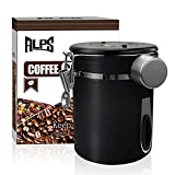 コーヒー キャニスター 304ステンレス コーヒー豆 茶筒 お菓子 糖 香料 日付表示ダイヤル 防湿保存 密封容器 (黒, 1500ml)
