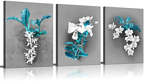 KuyiArt Flower Canvas Wall Art for Home Office Bathroom Decoration Modern Floral Artwork White product image