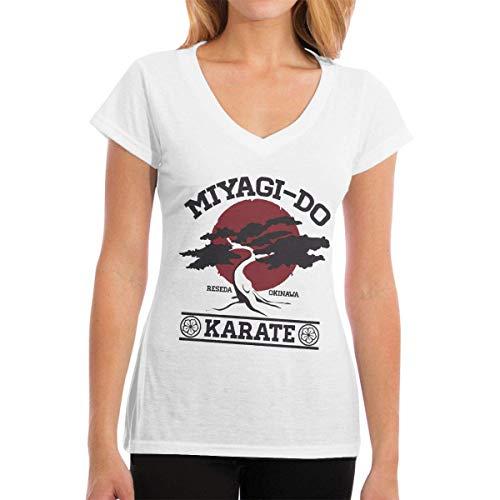 Karate Kid Miyagi Do Camiseta de algodón con Cuello en V para Mujer Blanca