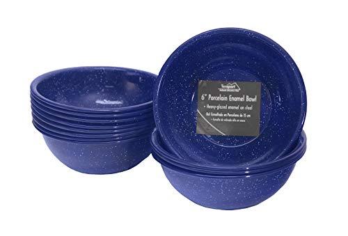 """Texsport 6"""" Blue Enamel Bowl (Set of 12)"""