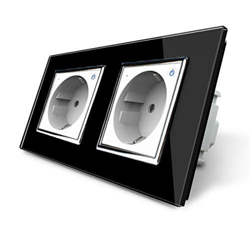 LIVOLO ZigBee Smart SmartHome - Enchufe inteligente con 2 enchufes (táctil, marco de cristal, VL-C7ZBED-11-VL-C7-SR-SR-12, control por aplicación de t...