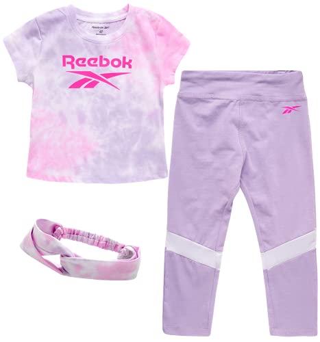 Reebok Baby Girls' Playwear Set ? 3 Piece Short Sleeve T-Shirt, Leggings, and Headband Set (Infant/Toddler), Size 2 Toddler, Pastel Lilac/Tye-Die