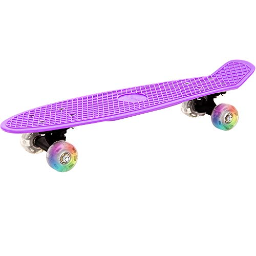 Deuba Retro LED Skateboard | Skate Pennyboard Citysurfer Board | Oldschool-Design | LED-Leuchtrollen | Lila