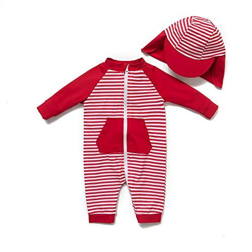 Baby Girl Ein stück 3/4 der ärmellänge UV-Schutz 50+ Badeanzug MIT Einem Reißverschluss(Rot-Stripe,9-12M)