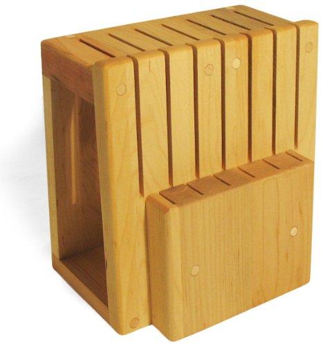 J.K. Adams 9-1/2-Inch-by-9 inch by 6-1/2-Inch Maple Wood Universal Knife Storage Block, 13-Slot