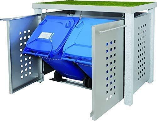 *Edelstahl Mülltonnenbox für 2 Tonnen 120L mit Pflanzenwanne und Granit-Pfosten (NW11T), Mülltonnenverkleidung Mülltonnenhaus*