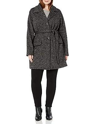 Steve Madden Women's Fashion Coat, Classic Sweater Fleece Charcoal Heather, S