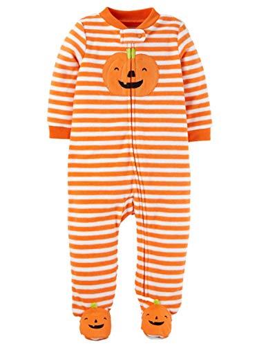 Baby Stripe Pumpkin Halloween 1-pc Pajama - 6 Months Orange