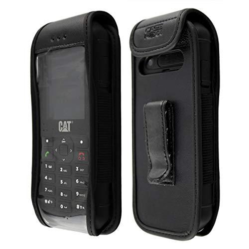 caseroxx Hülle Ledertasche mit Gürtelclip für Cat B26 aus Echtleder, Tasche mit Gürtelclip & Sichtfenster in schwarz