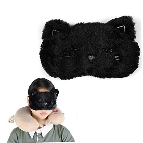 IUwnHceE Cartoon-Tier Napping-Augen-schablonen-plüsch-Augenmaske Cover Black Cat Shaped Weiche Reiseschlafmaske Blindfold Augenpflege 1pc Adjustable Flugzeug Eyeshade Blinder