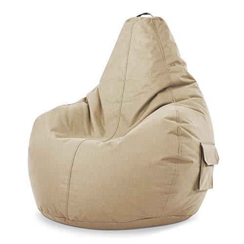 Green Bean © Cozy Beanbag, Gaming Sitzsack Sessel 80x70x90 cm, 230 Liter EPS Perlen Füllung, Indoor Gamingstuhl & Outdoor Gamer Sitzkissen, Bean Bag Lounge Chair für Kinder & Erwachsene, Beige