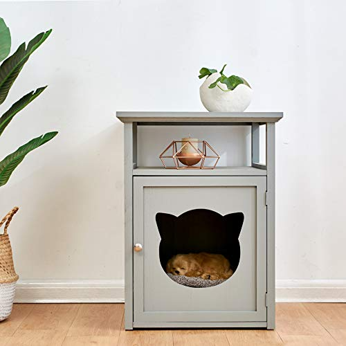 Cherry Tree Furniture BASTET Wooden Cat Cave Bedside Cabinet | Litter Box | Cat House Nightstand (Grey)