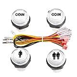 Easyget 4 Pcs/Lot 5V LED Illuminated Push Button 1P / 2P Player Start...