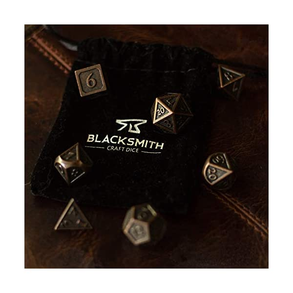 HEIMDALLR Metal DND Dice Set 7 PCS - Dungeons and Dragons Polyhedral Dice Set with D&D Dice Bag for RPG Gaming - Includes D20 - Blacksmith Craft Dice (Burnished Bronze) 4