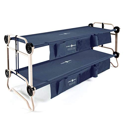 Disc-O-Bed Large Cam-O-Bunk 79 x 28 Inch Portable Folding Bunked Double Camping Cot Bed with 2 Organizers and 2 Carry Bags, Navy Blue