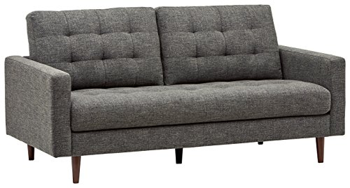 "Rivet Cove Mid-Century Modern Tufted Sofa with Tapered Legs, 72""W, Dark Grey"