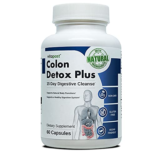 natural cleanses Colon Detox Plus | Natural 15 Day Detox Course, Supporting a Healthy Digestive System and Movements. 60 Capsules
