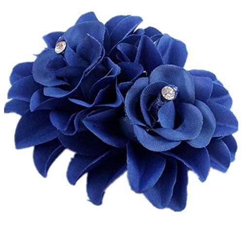 Plus Nao(プラスナオ) ヘアクリップ ヘアピン ヘアアクセサリー ヘッドドレス コサージュ フラワーモチーフ お花 髪飾り 髪留め レディース - ロイヤルブルー