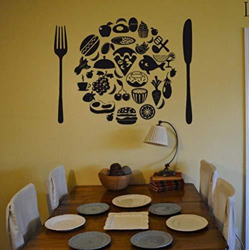 Gabel Messer Obst Wandtattoos Küche Bäckerei Schaufenster Vitrine Decor Wandaufkleber Abnehmbare Vinyl Wand Poster Wandbild 57X73 Cm