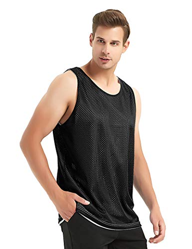 TOPTIE Men's Tank Top, Reversible Mesh Tank, Basketball Jerseys, Lacrosse Jersey-Black/White-L