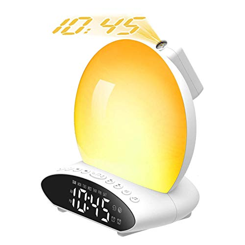 HebyTinco Wake up Light, Smart Wake Up Light Despertador Luz, LED Despertadores Digitales Luz Amanecer, 8 Sonidos Naturales, Radio FM, Simulación de Salida del Sol/Puesta del Sol