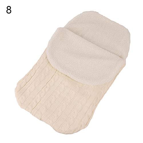Lsgepavilion Baby-Schlafsack für Neugeborene, gestrickt, warm, dick, weiß, Einheitsgröße