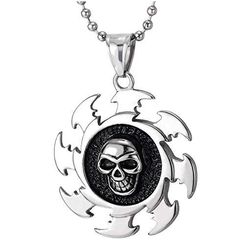 COOLSTEELANDBEYOND Hombre Cráneo Hoja de Sierra Medalla Collar Colgante con Esmalte Negro, Acero Inoxidable, 75CM Bola Cadena