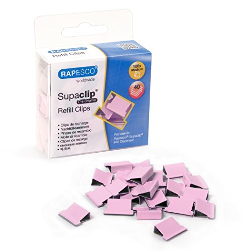 Rapesco Supaclip 40 Binder Clip Refill Pack, Pink, Pack of 100 Clips (1312)