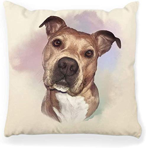 Decorative Throw Pillow Cover Square 16x16 Portrait American Pit Bull Terrier Dog Breed Hand Print Pet Poster Animals Artistic Boxer Brown Bulldog Home Decor Zippered Pillowcase