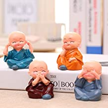 Jaipur Ace Set of 4 Beautiful Miniature Decorative Showpiece for Home, Office, Table, Car Decor (Cute) (Set of 4 Monk Set)