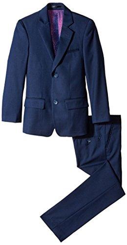 Isaac Mizrahi Big Boys' Slim Boys 2 Piece Cut Linen/Cotton Suit, Navy, 12