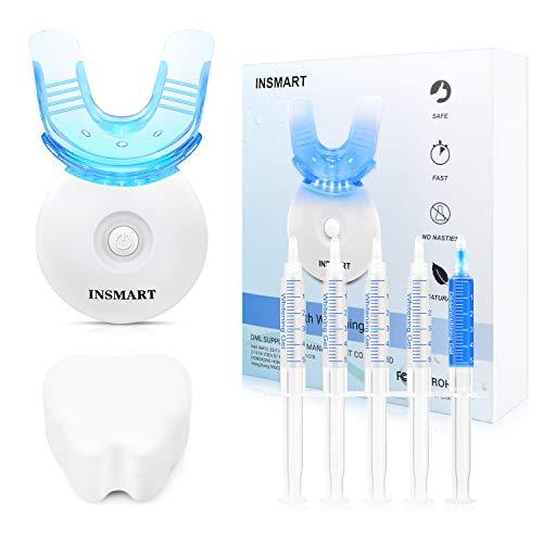Bleaching Zähne, INSMART Hause Zahnaufhellung Set Mit Hochwertig LED Licht Und 4 Zahnaufhellung Gel, Weiß Zähne, Gegen Gelbe Zähne, Rauchflecken, Schwarze Zähne