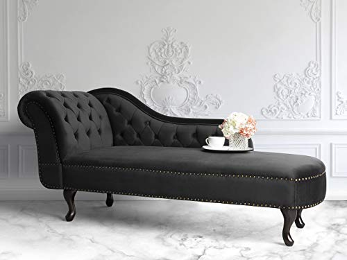 Beliani Klassische Récamiere im Chesterfield Style Samtstoff linksseitig schwarz Nimes