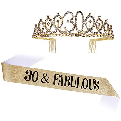 Or 30 ans anniversaire Crown Tiare en cristal 30 ans Bandeau anniversaire pour fête anniversaire avec 30 ans et bandoulière 30 ans Décoration, M, Alliage de zinc. Strass en cristal,