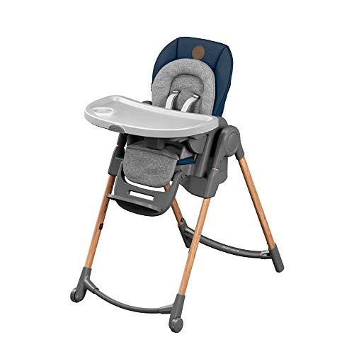 Maxi-Cosi Minla Seggiolone Pappa 6 funzioni in 1, Reclinabile con cuscino riduttore, Regolabile in altezza in 9 posizioni, Sdraietta, Sgabello ed Alza sedia, Bambini 0-7 anni, colore Essential Blue