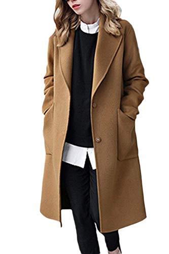 Screenes Gabardina Elegante Invierno Otoño Windbreaker Solapa Caliente Joven Abrigos Mujer Largos es Cazadoras Jacket Chaqueta Parkas Delgado (Color : Camel, Size : S)