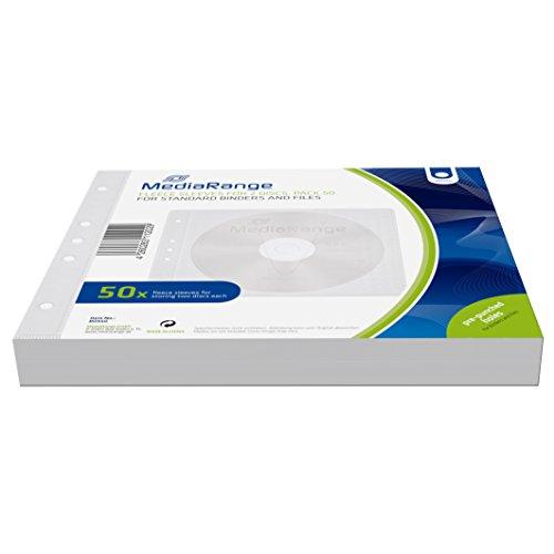 MediaRange Vliestaschen für 2 Discs, für Ordner und Mappen, weiß, 50er Pack