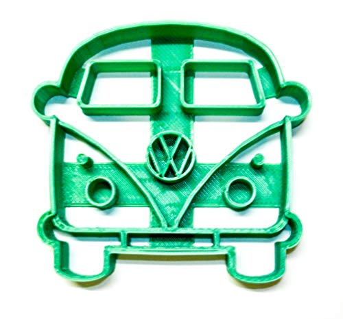 VW VAN BUS MICROBUS FRONT VIEW 1950S VINTAGE VEHICLE TRAVEL CAMPER SPECIAL OCCASION COOKIE CUTTER BAKING TOOL 3D PRINTED MADE IN USA PR2161