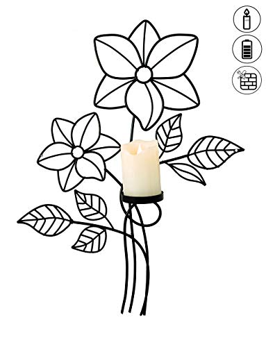 abc HOME living ♡ Wanddeko Blumen LED-Kerze Metall kein Zusammenbau elegant, Echwachs, schwarz, ca. 6 cm T x 35 cm B x 40 cm H