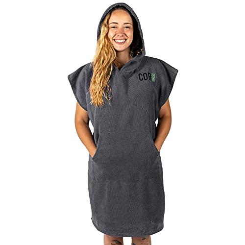 Cor Surf Poncho cambiador de toalla con capucha y bolsillo delantero, para adultos pequeños y niños de tamaño grande (gris – mediano)