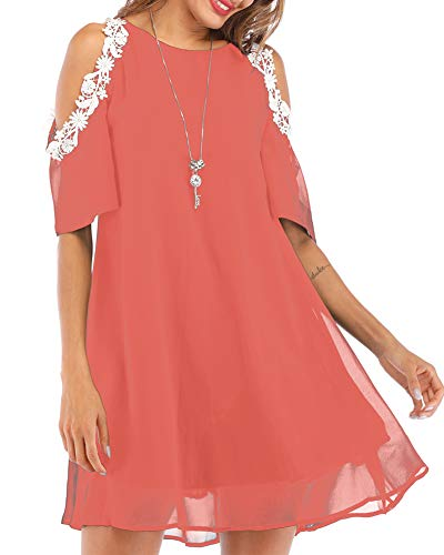 Aofur Summer Chiffon Lace Dress Ladies 2018 Cold Sleeve Casual Plus Size S-XXXXL Sundress Women Solid Elegant Party Dress (Large, Light Red)