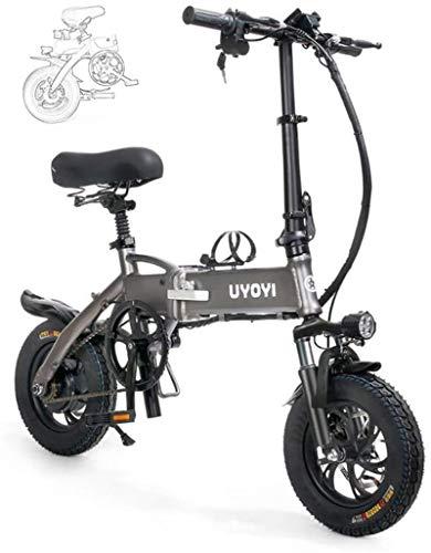 Bici electrica, Bicicletas for adultos plegable plegable eléctrico de la bicicleta del marco de la aleación de aluminio portable, con luz LED frontal, Modo de tres a caballo, freno de disco for adulto